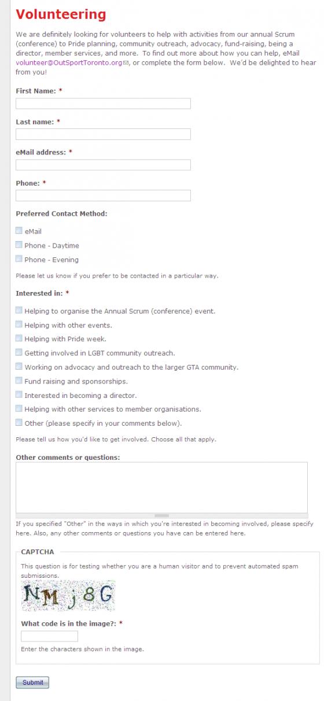 Webform volunteer application